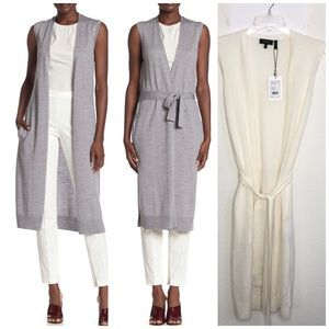 NEW Theory sleeveless Sweater maxi cardigan AZK